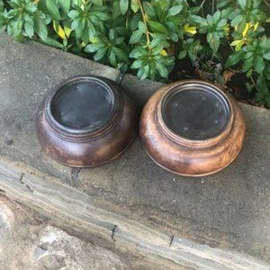 Wood and Copper Plinths Pillar Candle Holders